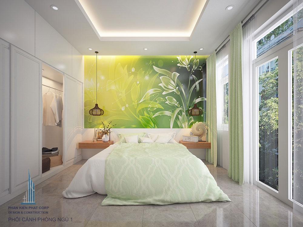 Phòng ngủ 1 view 1 của mẫu nhà 4x16m 4 tầng