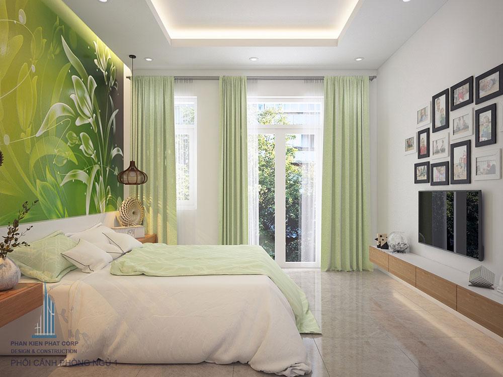 Phòng ngủ 1 view 2 của mẫu nhà phố đẹp 4 tầng
