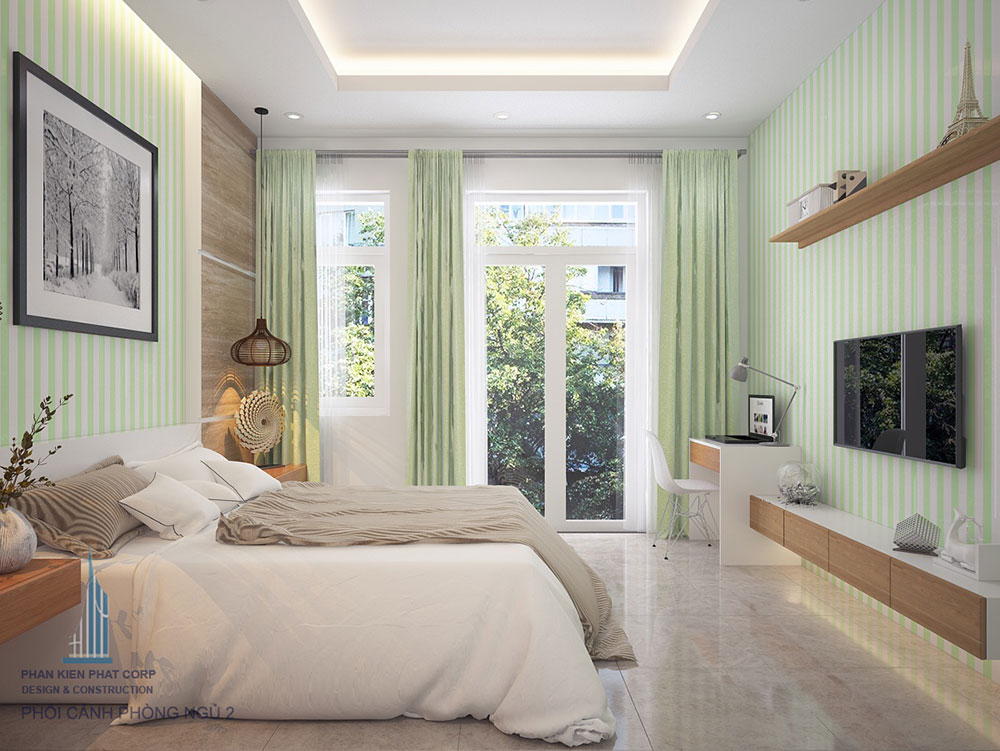 Phòng ngủ 2 view 2 nhà đẹp 4 tầng bán cổ điển