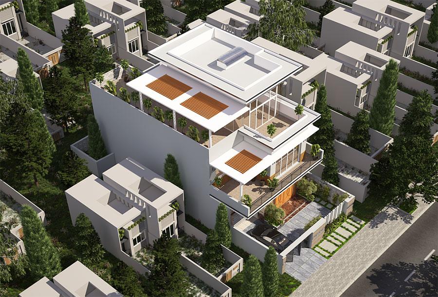Thiết kế biệt thự hiện đại góc view 4