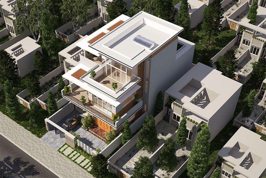 Thiết kế biệt thự hiện đại góc view 5