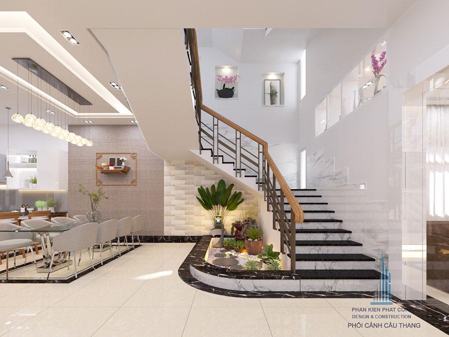 Thiết kế cầu thang nhà biệt thự hiện đại góc view 1