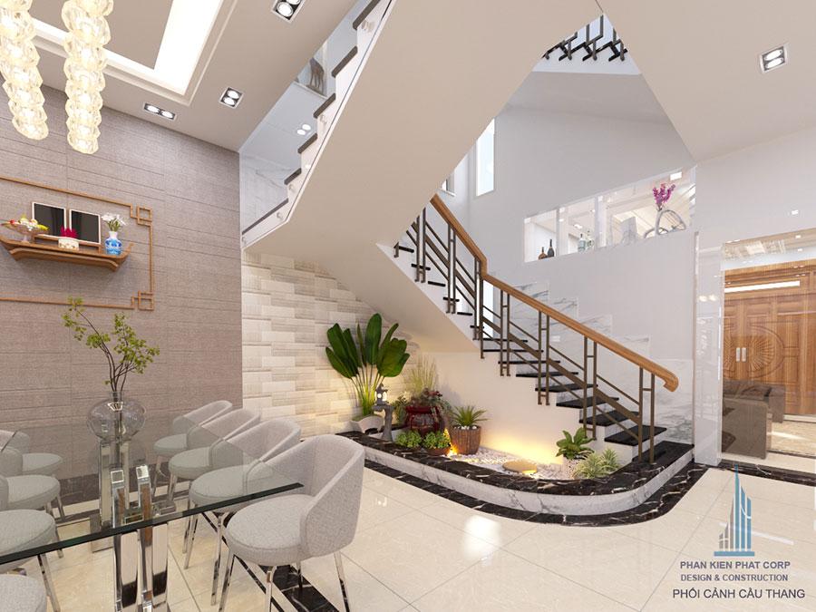 Thiết kế cầu thang nhà biệt thự hiện đại góc view 2