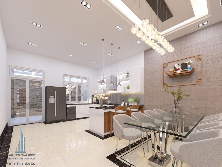 TThiết kế phòng ăn và bếp không gian sang trọng góc view 1