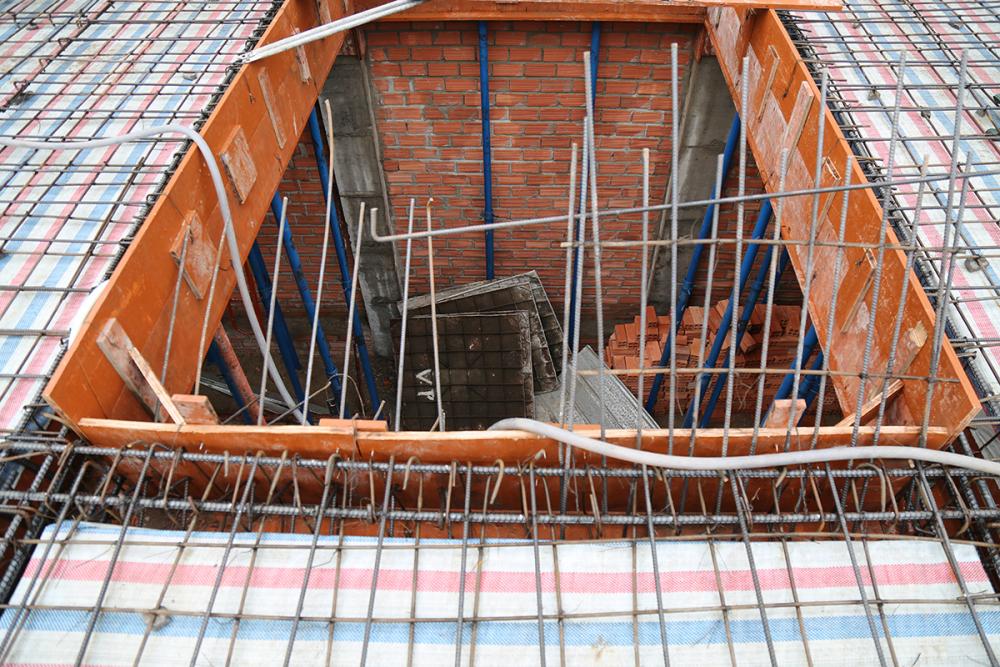 Mặt bằng sàn tầng 1 trước khi đổ bê tông view 2