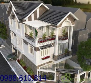 - 3-storey villa design with 2 fronts