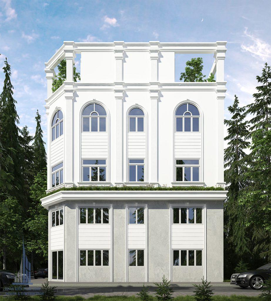 Phối cảnh mặt tiền biệt thự phố 4 tầng diện tích 4,5x12,5
