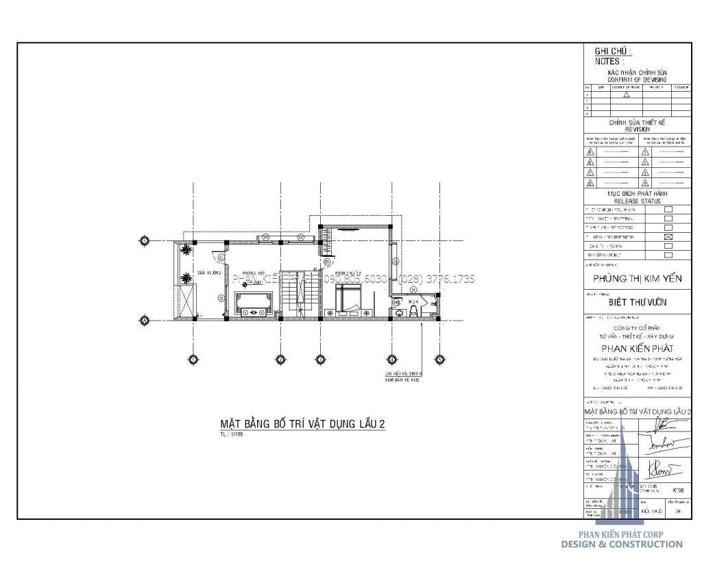 Bản vẽ mặt bằng lầu 2 mẫu biệt thự phố 1 trệt 2 lầu