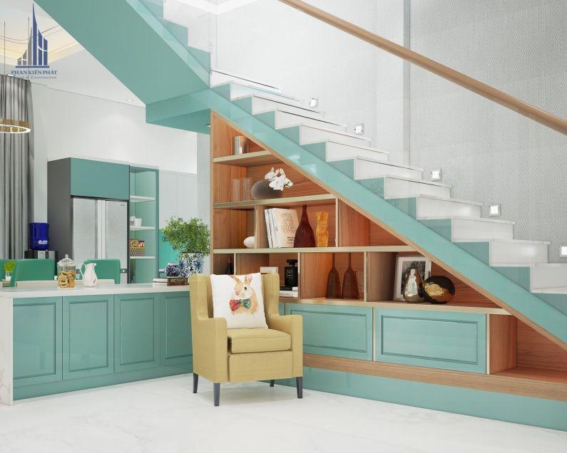 Mẫu nhà bếp có màu sắc xanh ngọc nhẹ nhàng và trang nhã