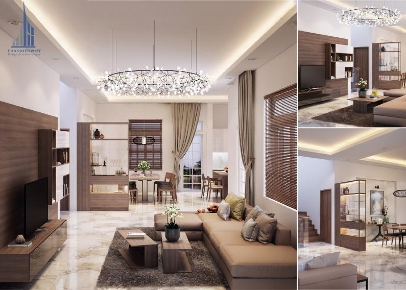 Thiết kế nội thất biệt thự vườn 2 tầng hiện đại – phòng khách thoáng đãng