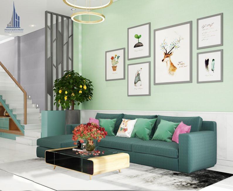 Nội thất phòng khách trong thiết kế biệt thự vườn