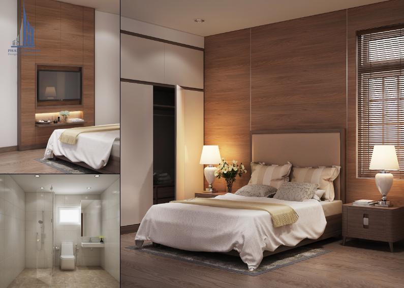 Thiết kế nội thất biệt thự vườn 2 tầng hiện đại – phòng ngủ gia chủ và vệ sinh khép kín