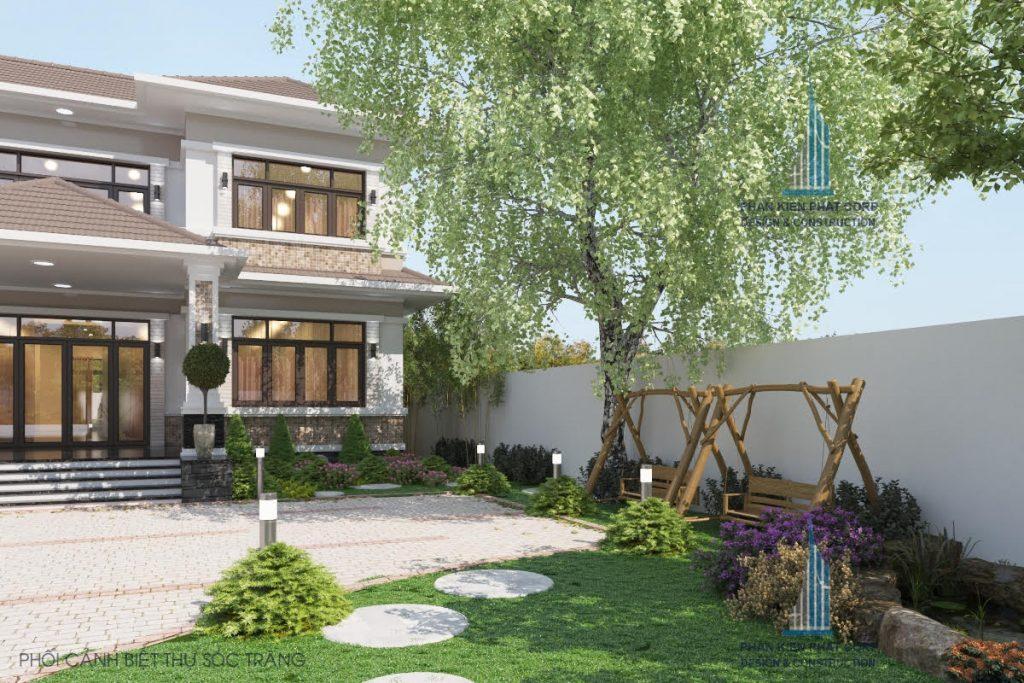 Phối cảnh biệt thự vườn mái thái 2 tầng ở Sóc Trăng
