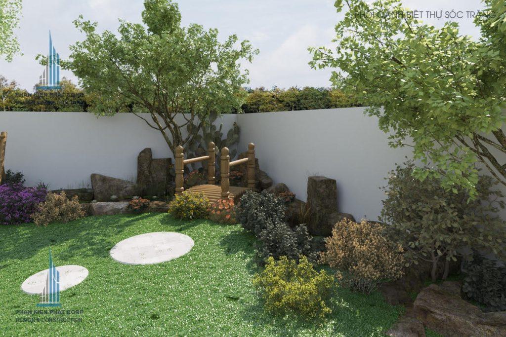 Tiểu cảnh hòn non bộ ở mẫu biệt thự vườn 2 tầng mái thái