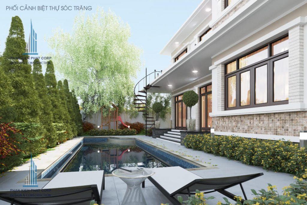 Hồ bơi ở mẫu nhà biệt thự vườn 2 tầng mái thái hiện đại