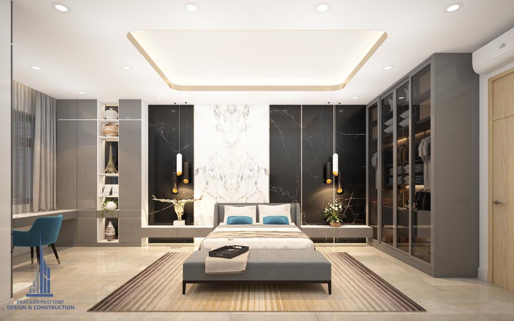 Phòng ngủ thành viên nam với tông màu trắng đen trong thiết kế biệt thự phố