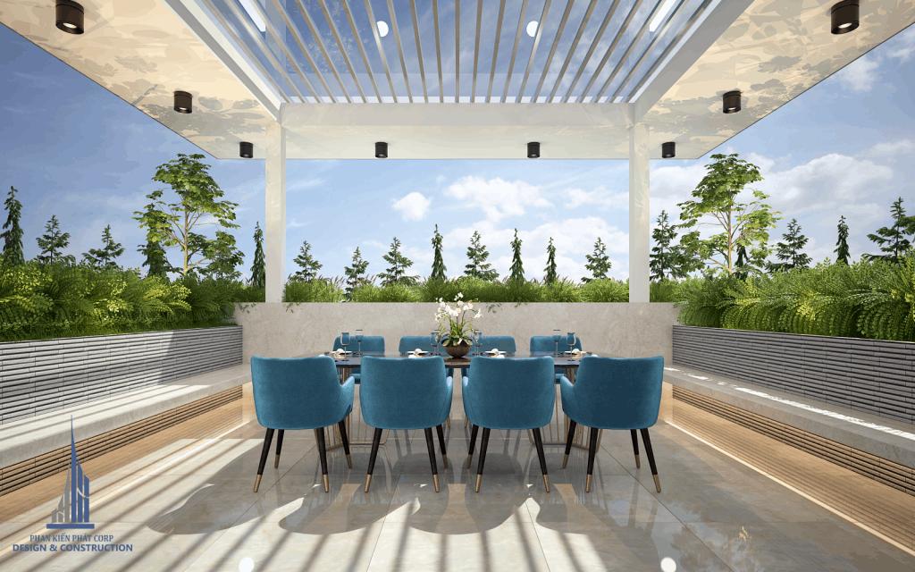 Thiết kế phòng ăn trên sân thượng, cây cảnh được bao quanh tạo cảm giác mát mẻ
