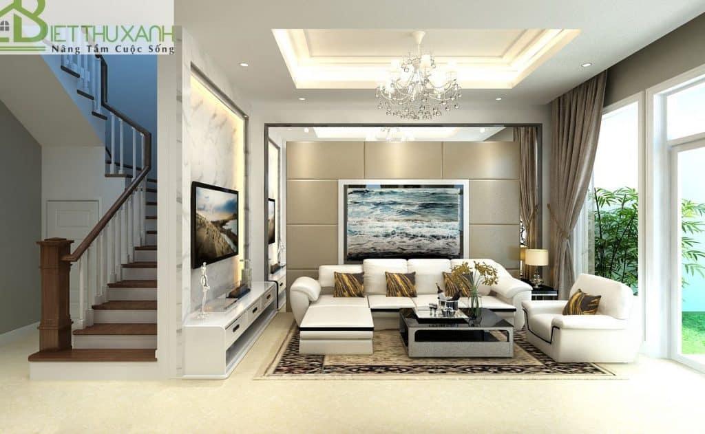 Mẫu thiết kế nội thất phòng khách biệt thự bán cổ điển tại Thủ Đức