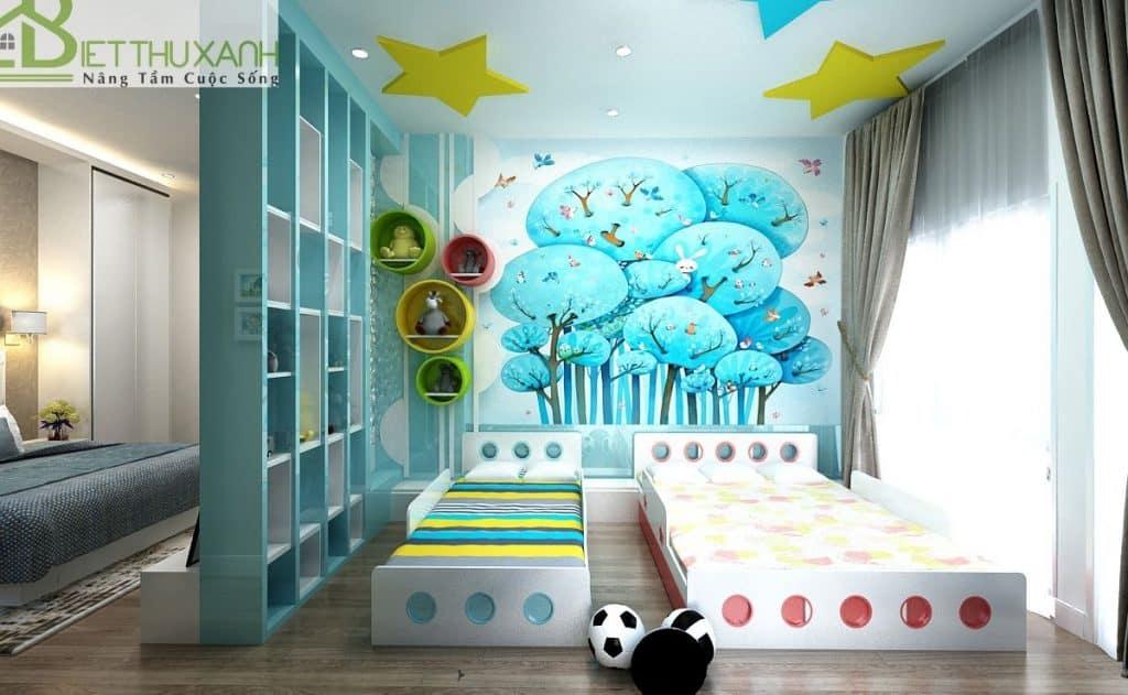 Thiết kế phòng ngủ 2 giường dành cho con