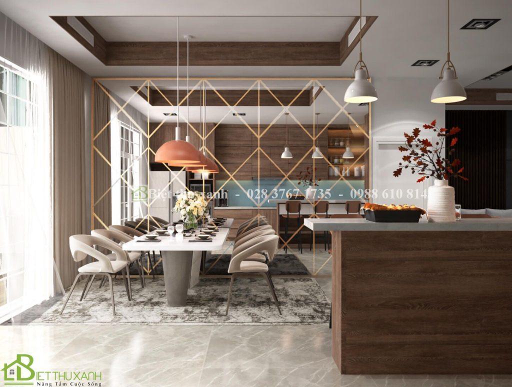 Thiet Ke Phong Bep An 2- mẫu biệ thự 3 tầng tân cổ điển mái thái