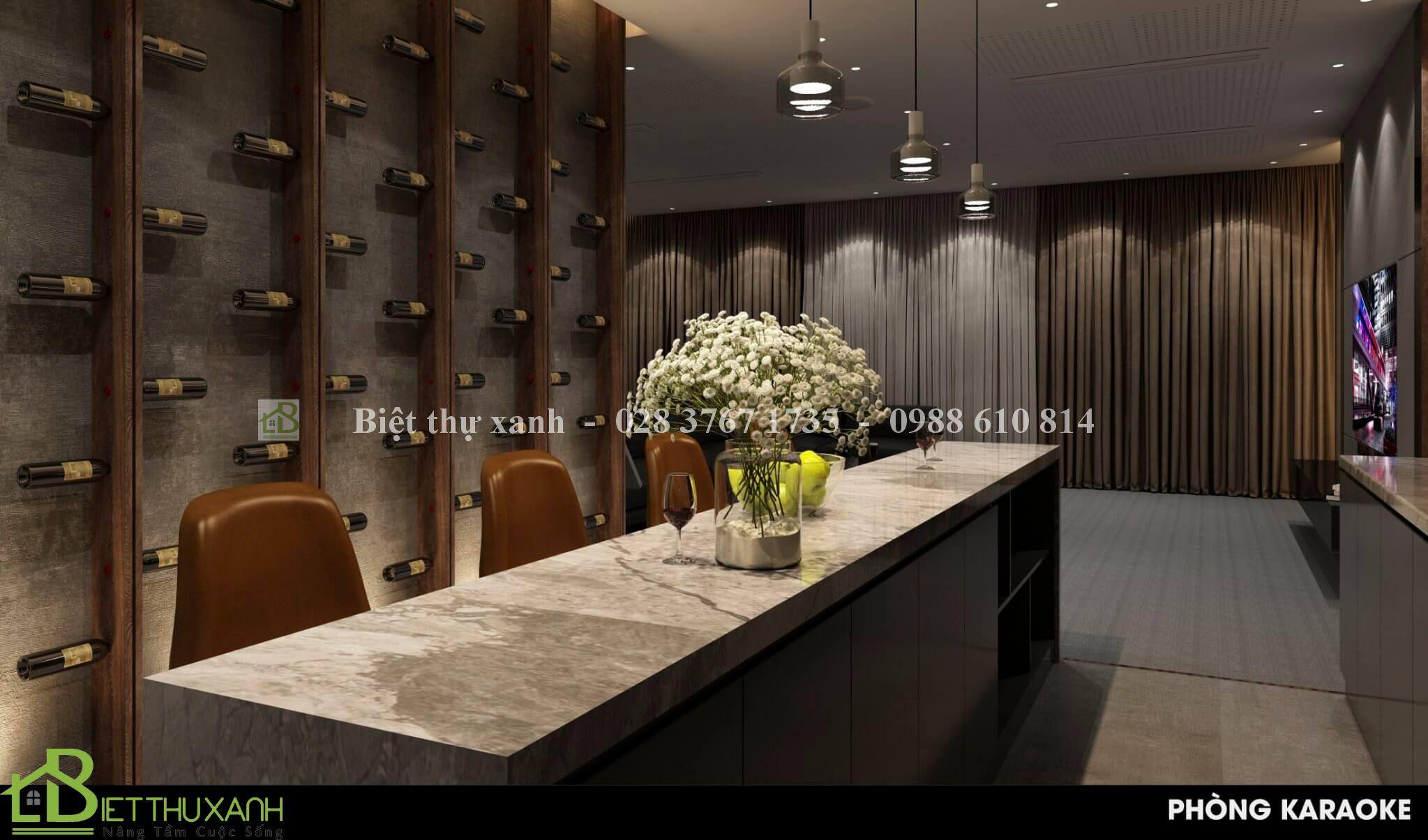 Thiet Ke Phong Giai Tri Trong Mau Biet Thu Tan Co Dien 4- biệt thự 1 trệt 2 lầu mái thái