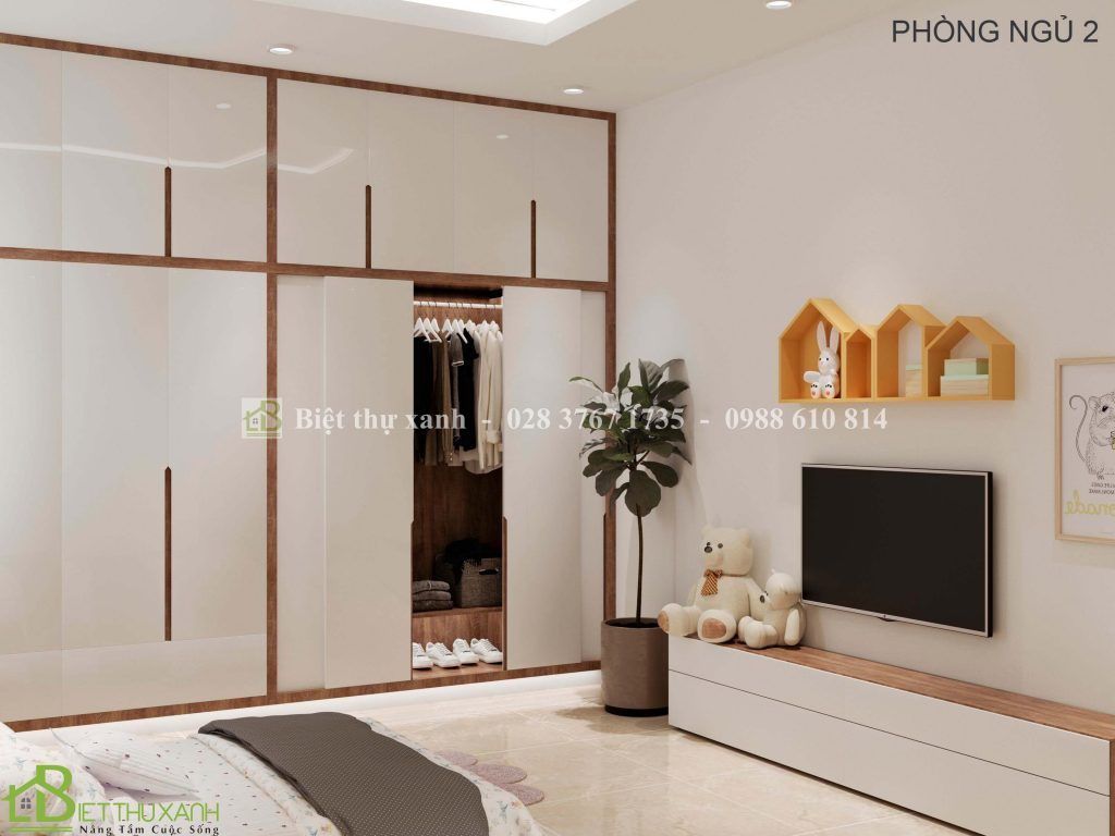 Thiet Ke Phong Ngu 2 Trong Mau Biet Thu Tan Co Dien 3-biệt thự 1 trệt 2 lầu mái thái